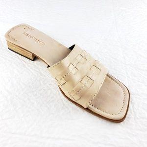 Sesto Meucci 8.5 W C Leather Slides Sandals Beige